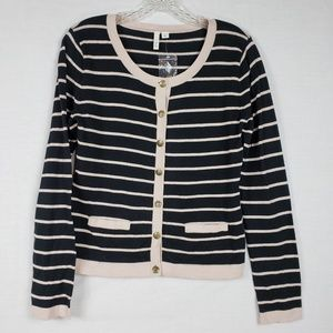 Frenchi Pink and Black Striped Knit Sweater